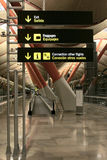 Airport signs. In Madrid Barajas Airport Terminal 4 Stock Photo