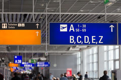 Airport signs. At a airport stock image