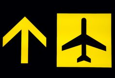 Airport signs - departure. A sign of departure displayed in an airport royalty free stock photo