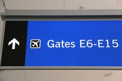 Airport signs. Generic airport signage in Las Vegas. Illuminated gates sign stock photography
