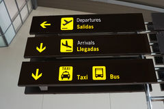 Airport Signs. Signs Inside an International Airport stock photo