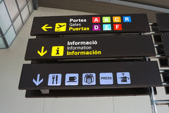 Airport Signs. Signs Inside an International Airport stock photos