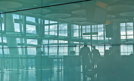 Airport silhouette. People at the Heathrow Airport in London Royalty Free Stock Photography