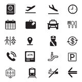 Airport silhouette icons set Royalty Free Stock Photos