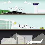 Airport in simple graphic. Runway, takeoff, maintenance Royalty Free Stock Photos