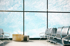 Airport with sky view. Airport interior with steel seats, luggage and panoramic sky view. Travel concept. 3D Rendering Royalty Free Stock Photo