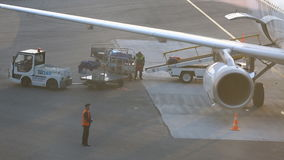 Airport Staff with Baggage on the Conveyor Belt of Airplane stock video footage