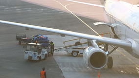 Airport Staff with Baggage on the Conveyor Belt of Airplane stock footage