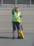 Airport staff on the runway Stock Photography