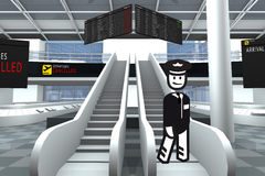 Airport stakeholder. Pilot with escalator inside Airport Stock Photo