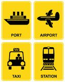 Airport, station, taxi, port. Airport, railway station, train station, taxi parking, sea port - set of information  signs Royalty Free Stock Image