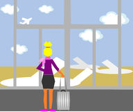 In the Airport. A stewardess standing in the airport and looking at the planes vector illustration