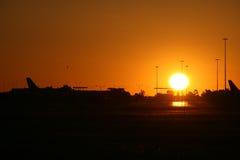 Airport Sunset. Photo Of A Beautiful Sunset On An Airport Stock Photos