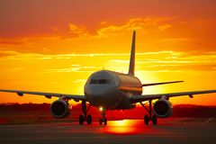 Airport at the sunset Stock Photos