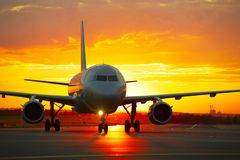 Airport at the sunset Royalty Free Stock Photo
