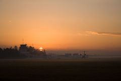 Airport sunset Stock Photos