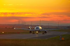 Airport at the sunset Royalty Free Stock Photos