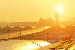 Airport sunset Stock Photo