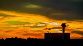 Airport sunset, landing At Sunset. Footage of Airport in sunset and a plane stock video footage