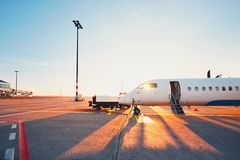 Airport at the sunset Royalty Free Stock Images