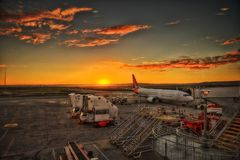 Airport Sunset Royalty Free Stock Photography