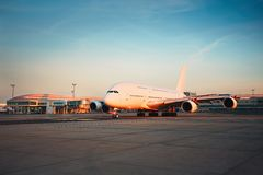 Airport at the sunset Royalty Free Stock Photography