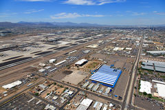 Airport Swap Meet. Major Airport viewed from above a swap meet site, former home to dog racing in Phoenix, Arizona Stock Photography