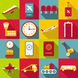 Airport symbols icons set, flat style Stock Images