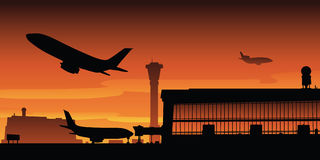 Airport Takeoff. A passenger jet takes off from the runway at an airport Royalty Free Stock Image