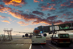 Airport tarmac. The airport tarmac local features royalty free stock photo