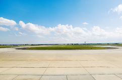 Airport Tarmac. View of Airport Tarmac and aircraft and freight parking bays royalty free stock images