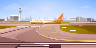 Airport Terminal With Aircraft Flying Plane Taking Off royalty free illustration