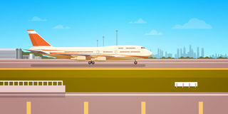 Airport Terminal With Aircraft Flying Plane Taking Off Royalty Free Stock Photography