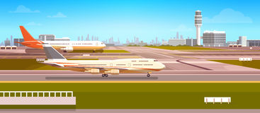 Airport Terminal With Aircraft Flying Plane Taking Off Stock Photo