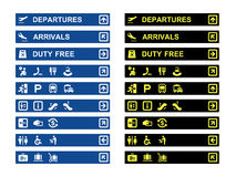 Airport terminal banners and symbols Stock Photo