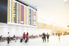 Airport terminal with flight schedule Stock Images