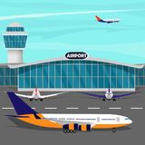 Airport terminal building, control tower, plane taking off, planes on runaway. Vector flat illustration. Airport terminal building, control tower, plane taking Stock Photos