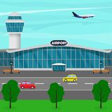 Airport terminal building, control tower, plane taking off, taxi drives up to the entrance of the airport building. Vector flat il. Lustration Stock Photos