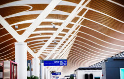 Airport Terminal Building. The modernization of the airport lounge building roof decoration inside Stock Photos
