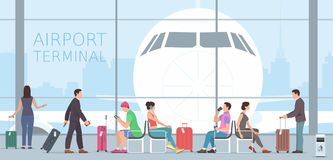 Airport terminal. Business People Travel Passenger Airport Terminal Concept. Flat design royalty free illustration