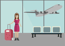 Airport terminal. Business woman standing at airport terminal, business travel concept. Flat royalty free illustration