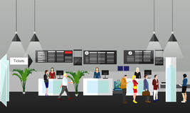 Airport terminal concept vector illustration. Design elements and banners in flat style. Travel Stock Image