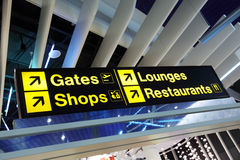 Airport terminal direction sign Royalty Free Stock Photos