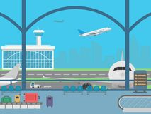 Airport terminal. Field with airplanes and flying airplane Royalty Free Stock Photos