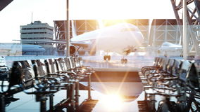 Airport terminal. fly animation. Wonderfull sunset. Business and travel concept stock video