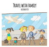 Airport terminal. Group of young travellers going to vacation. Happy family with kids. Mother with little son. Summer Stock Images