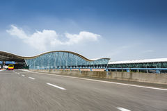 Airport terminal and highway Royalty Free Stock Image