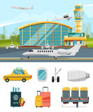 Airport terminal illustration, aircraft and different specific icons set Stock Image
