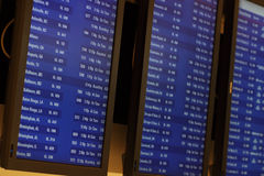 Airport Terminal Information Screens. Arrival and departure schedule screens at the airport Royalty Free Stock Photos