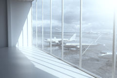 Airport terminal. Interior with daylight and windows with a view of airplanes. 3D Rendering Royalty Free Stock Images